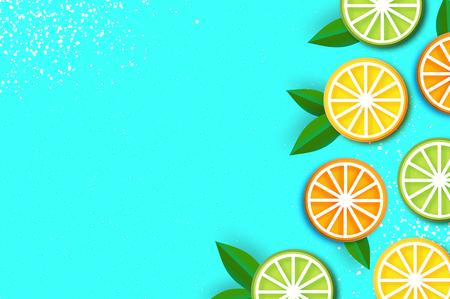Zitrone, Limette, Orange im Papierschnittstil. Origami saftige reife Scheiben. Blätter. Gesundes Essen auf Blau. Sommer. Vektor Vektorgrafik