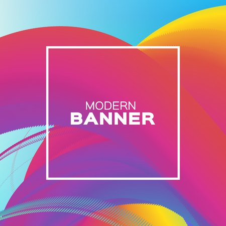 Liquid Poster. Bright Colorful Wave Smoke Shapes with Square frame. Space for text. Abstract Colorful Dynamic Effect on blue. Modern Template Banner. Vector design illustration. Illustration