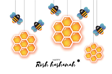 Jewish New Year, Rosh Hashanah Greeting card. Origami Hexagon Honey gold cell and Honey Bee in paper cut style. Happy holiday in Hebrew. White background. Vector  イラスト・ベクター素材