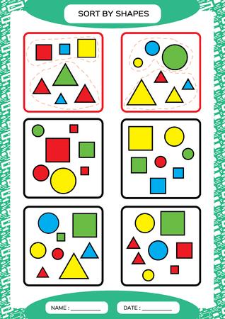 Ordenar por formas. Juego de clasificación. Agrupar por formas: cuadrado, círculo, triángulo. . Clasificador especial para niños en edad preescolar. Hoja de trabajo para practicar la motricidad fina. Mejora de las tareas de habilidades. A4. vector verde