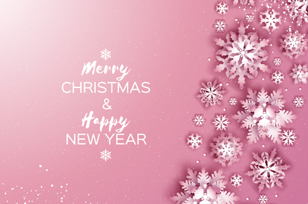 Merry Christmas and Happy New Year Greetings card. White Paper cut snowflakes. Origami Winter Decoration background. Seasonal holidays. Snowfall. Space for text. Pink. Vector