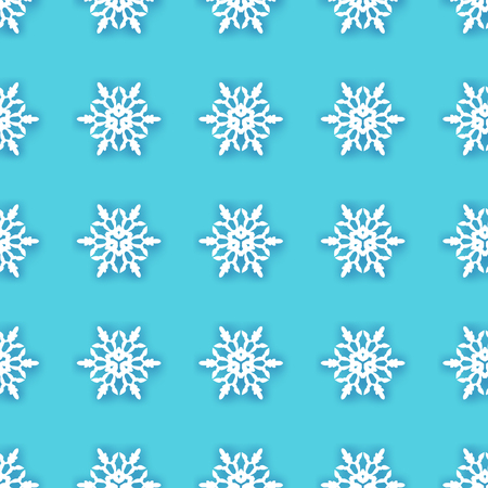 White Paper cut snowflakes seamless pattern. Origami Winter Decoration background. Seasonal holidays. Snowfall. Blue. Merry Christmas and Happy New Year. Vector