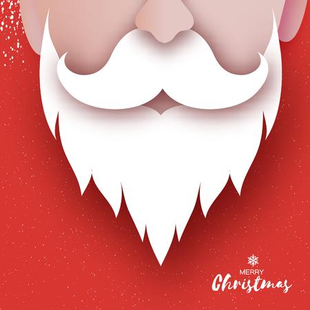 Santa Claus hat and beard in paper cut style. Origami Merry Christmas and Happy New Year Greetings card. Winter holidays. Red. Vector.