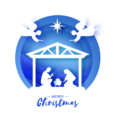 Birth of Christ. Baby Jesus in the manger. Holy Family. Magi. Angels. Star of Bethlehem - east comet. Nativity Christmas design in paper art style. Happy new year. Circle tunnel frame. Blue. Vector.