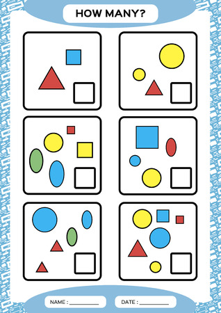 How Many. Counting Game for Preschool Children. Educational math game. Count the shapes in the picture and write the result. blue. Vector 일러스트