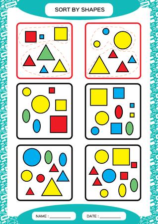 Ordenar por formas. Juego de clasificación. Agrupar por formas: cuadrado, círculo, triángulo. . Clasificador especial para niños en edad preescolar. Hoja de trabajo para practicar la motricidad fina. Mejora de las tareas de habilidades. A4. vector azul