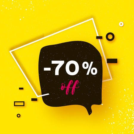 Sale tag, Special offer banner template. Trendy Geometric quote elemets Frame for text in paper cut style. For brochure, flyer or presentations design. Simple geometry. Yellow. Vector