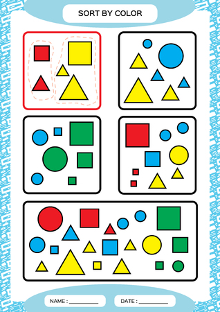 Sort by color. Sorting Game. Group by color- green, red, yellow.blue. Special sorter for preschool kids. Worksheet for practicing fine motor skills. Improving skills tasks. A4. blue Vector