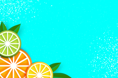 Lemon, lime, orange in paper cut style. Origami juicy ripe slices. Leaves. Healthy food on blue. Summertime. Vector Illustration