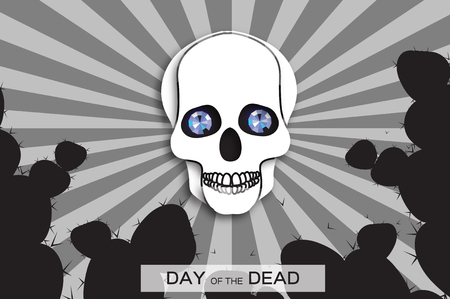 Day of the dead. Paper cut skull for mexican celebration. Traditional mexico skeleton. Dia de muertos on dark night blue background. Bones font. Blue Diamond eyes.Vector