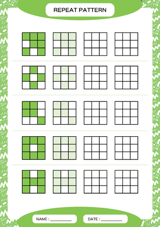 Repeat green pattern. Cube grid with squares. Special for preschool kids. Worksheet for practicing fine motor skills. Improving skills tasks. A4. Snap game. 3x3, Vector