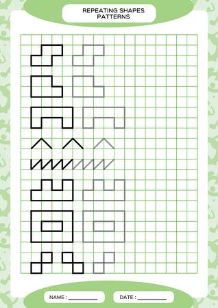 Répétez le motif. Activité de traçage des lignes, spéciale pour les enfants d'âge préscolaire. Fiche de travail pour pratiquer la motricité fine. Formes simples. Complétez le motif. Vecteur A4 vert Vecteurs