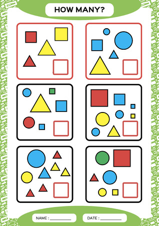 How Many. Counting Game for Preschool Children. Educational math game. Count the shapes in the picture and write the result. green. Vector