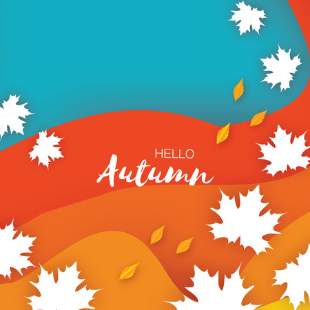 Beautiful Autumn in paper cut style. Origami leaves. Hello Autumn. September. October. Rectangle frame for text. Origami Foliage. Maple, oak. Fall. Poster template Vector Illustration