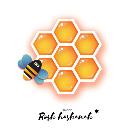 Jewish New Year, Rosh Hashanah Greeting card. Origami Hexagon Honey gold cell and Honey Bee in paper cut style. Happy holiday in Hebrew. White background. Vector Illustration
