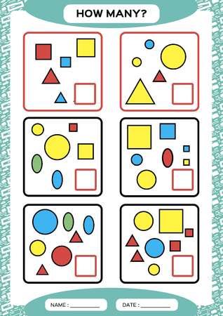 How Many. Counting Game for Preschool Children. Educational math game. Count the shapes in the picture and write the result. blue. Vector Ilustrace
