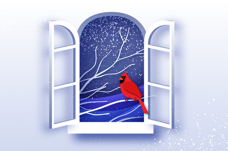 Red Cardinal in paper cut style. Tree under the snowfall. Merry Christmas greetings card in paper cut style. Winter season holidays. Happy New Year. Blue. Snowfall. Origami window frame. Vector