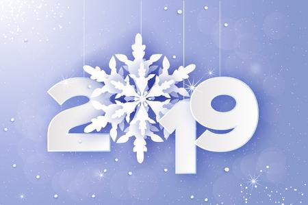 2019, biglietto di auguri di buon Natale e felice anno nuovo. Fiocchi di neve tagliati carta bianca. Priorità bassa della decorazione di origami. Vacanze stagionali. Nevicata. Testo invernale. Viola. Vettore