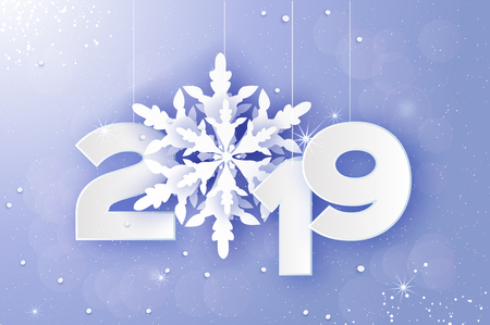 2019, Merry Christmas and Happy New Year Greetings card. White Paper cut snowflakes. Origami Decoration background. Seasonal holidays. Snowfall. Winter text. Purple. Vector