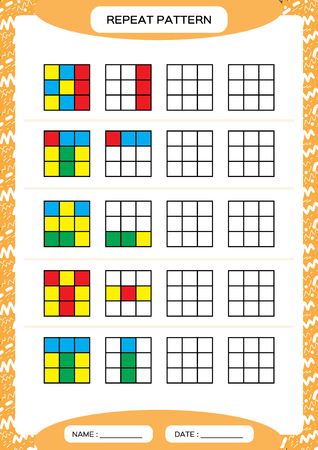 Repeat pattern. Cube grid with colorfull squares. Special for preschool kids. Worksheet for practicing fine motor skills. Improving skills tasks. Green A4. Snap game. 4x4. Vector