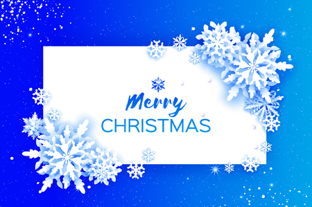 Merry Christmas and Happy New Year Greetings card. White Paper cut snowflakes. Origami Winter Decoration background. Seasonal holidays. Snowfall. Rectangle frame. Space for text. Blue sky. Vector Иллюстрация