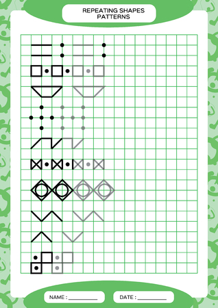 Repeat Pattern. Tracing Lines Activity, Special for preschool kids. Worksheet for practicing fine motor skills. Simple shapes. Complete the pattern. Green A4 Vector
