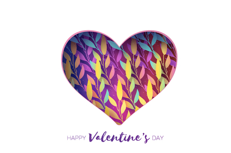 Heart frame. Valentines day Greetings card. Realistic Paper cut white flowers and leaves. Colorful Floral bouquet. Vector.