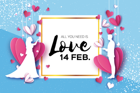 White silhouette of romantic lovers. Fall in Love. Paper Hearts. paper cut style. Happy Valentine day. Romantic Holidays. 14 February. Honeymoon. Pink Square frame. Vector