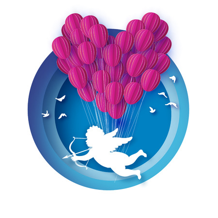 Flying Cupid - little angel. Love Pink Heart in paper cut style. Origami little boy - Cherub. Bow and Arrow. Pink Balloons flying. Happy Valentine day. Romantic Holidays. 14 February. Circle frame. Vector