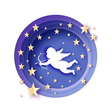 Flying Cupid. Golden starry blue sky. Amur angel with Love Origami Cherub. Happy Valentines day. Romantic Holidays paper cut style.14 February. Vector. Ilustração
