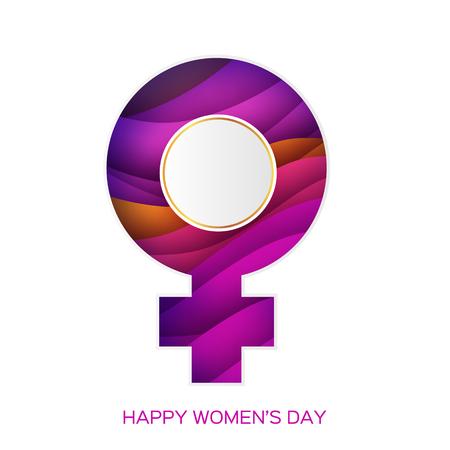 Símbolo de las mujeres. Estilo de corte de papel femenino. Tipo de género rosa. Signo de Venus sobre fondo en capas.