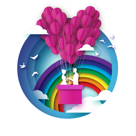 Fall in Love. White Romantic lovers. Pink Paper Balloon - heart shape in paper cut style. Happy Valentine day. Romantic Holidays. 14 February. Honeymoon. Rainbow. Blue sky. Vector.