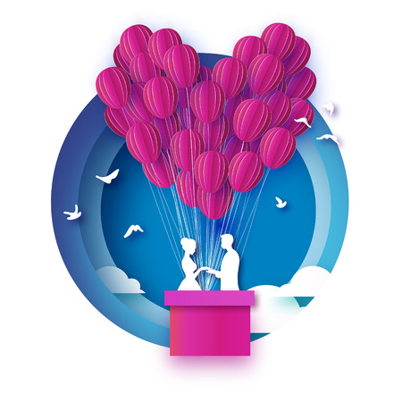 Fall in Love. White Romantic lovers. Pink Paper Balloon - heart shape in paper cut style. Happy Valentine day. Romantic Holidays. 14 February. Honeymoon. Blue sky. Vector.