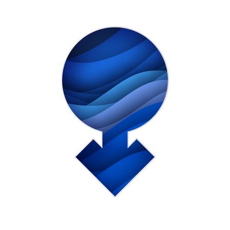 Men Symbol paper cut style. Male Sign. Blue Gender concept.