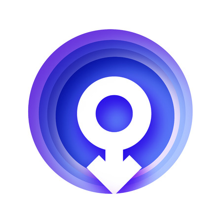 Men Symbol paper cut style. Male Sign. Blue Gender concept. Circle layered tonnel frame