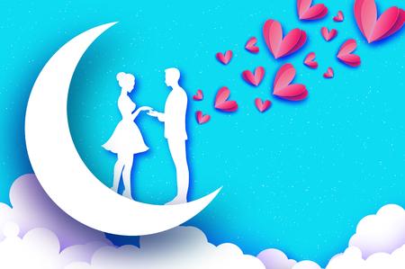 Tomber amoureux. Lune. Amoureux romantiques blancs. Coeurs de papier rose. style de coupe de papier. Joyeuse Saint Valentin. Vacances romantiques. 14 février. Voyage de noces. Vecteur de ciel bleu Vecteurs