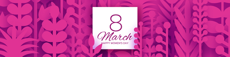 8 March Banner. Origami Spring Flowers for Happy Womens day. Mixed Magenta Paper cut outs plants, flowers, tropical leaves. Square frame for text. Mothers Day. Happy holidays. Vector Illustration