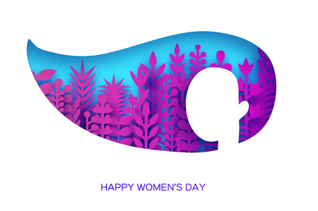 Happy Womens Day Greetings card. 8 March. Paper cutout girl head silhouette cutout with magenta origami flowers and leaves. Mothers day. Spring holidays on blue. Vector.