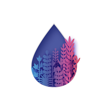 Colorful water drop with paper cut flowers and leaves. Aqua shape with origami floral bouquet. Vector.