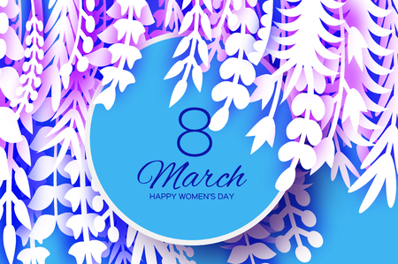 8 March. Origami Spring Flowers for Happy Womens day. Mixed White Paper cut outs plants, flowers, tropical leaves for window display. Circle frame for text. Mothers Day. Happy holidays on blue.