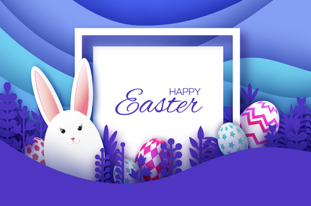 Happy Easter Greeting card with paper cut bunny rabbit, spring flowers. Eggs. Origami layered landscape. Square frame. Place for text. Violet. Square frame for text. Vector