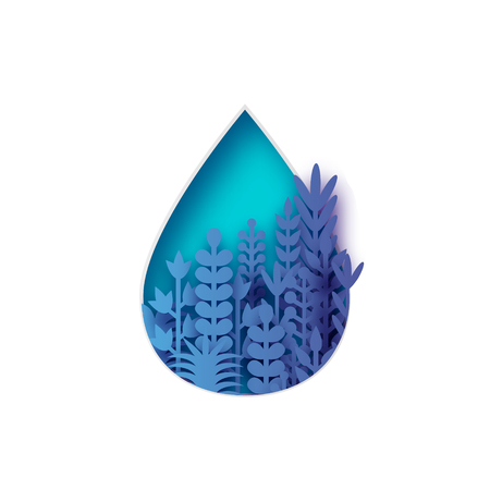 Blue water drop with paper cut flowers and leaves. Aqua shape with origami floral bouquet. Vector.