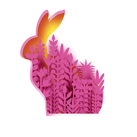 Happy Easter Greeting card with paper cut bunny rabbit, pink spring flowers. Origami yellow Rabbit shape frame. Place for text. Vector