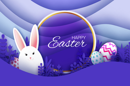 Happy Easter Greeting card with paper cut bunny rabbit, spring flowers. Eggs. Origami layered landscape. Circle frame. Place for text. Violet. Square frame for text. Vector