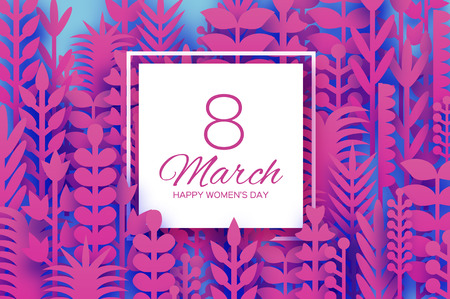 8 March. Origami Spring Flowers for Happy Womens day. Mixed Magenta Paper cut outs plants, flowers, tropical leaves for window display. Square frame for text. Mothers Day. Happy holidays on blue.