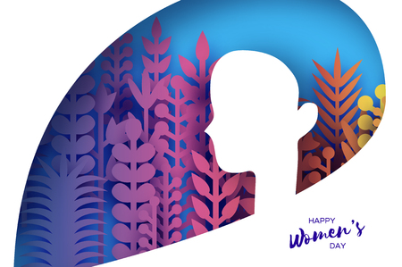 Happy Womens Day Greetings card. 8 March. Paper cutout girl head silhouette cutout with colorful origami flowers and leaves. Mothers day. Spring holidays on blue. Vector. Ilustração