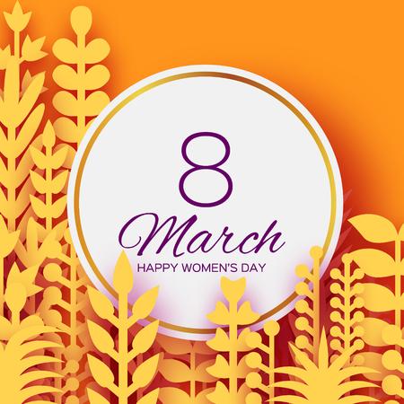 8 mars. Fleurs de printemps en origami pour la journée des femmes heureuses. Le papier jaune mélangé découpe des plantes, des fleurs, des feuilles tropicales pour l'affichage de la fenêtre. Cadre de cercle pour le texte. Fête des mères. Bonnes vacances sur orange.