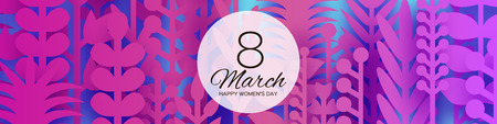8 March Banner. Origami Spring Flowers for Happy Womens day. Mixed pink Paper cut outs plants, flowers, tropical leaves. Square frame for text. Mothers Day. Happy holidays on blue. Vector