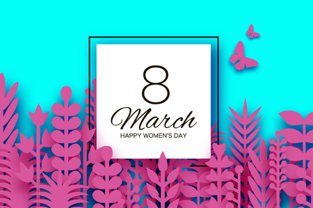 8 March. Origami Spring Flowers for Happy Womens day. Mixed Pink Paper cut outs plants, flowers, butterflies, leaves for window display. Square frame. Mothers Day. Happy holidays on blue. Ilustração