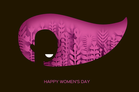 Happy Womens Day Greetings card. 8 March. Paper cutout black girl head silhouette cutout with pink origami flowers and leaves. Mothers day. Spring holidays. Vector.